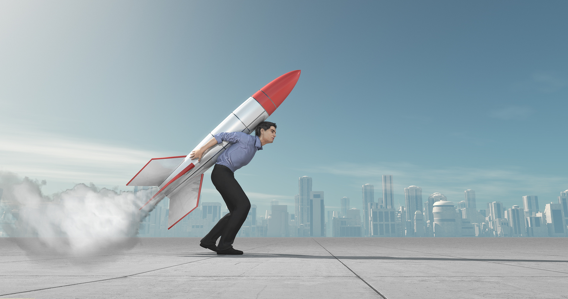Business man holding jet pack rocket above the city concept. This is a 3d render illustration